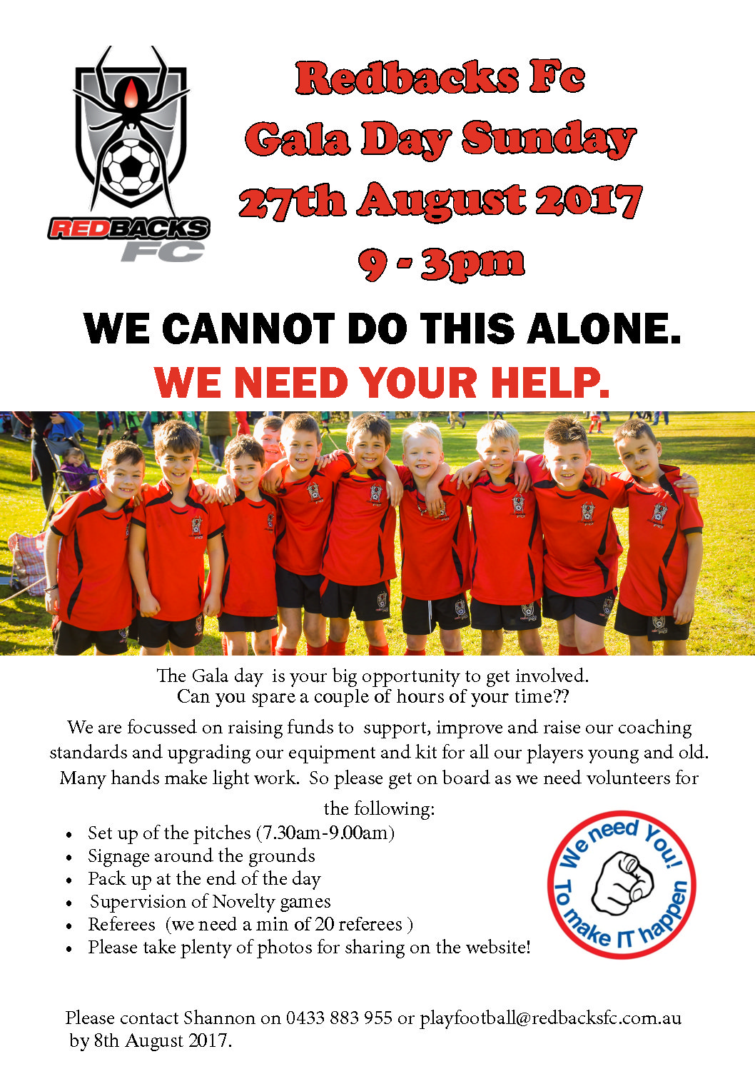 We Need You! Redbacks FC Fundraiser Gala Day